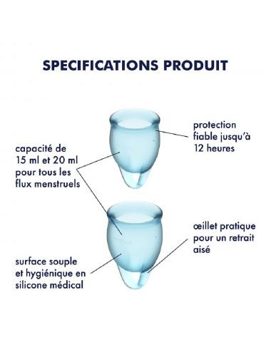 2 coupes mensturelles Satisfyer Light Bleu FEEL CONFIDENT - CC597236 - Hygiène - Satisfyer