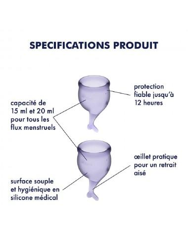 2 coupes menstruelles Satisfyer Lilas FEEL SECURE - CC597238 - Hygiène - Satisfyer
