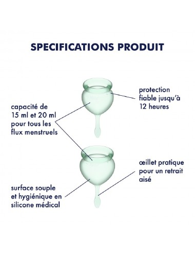 2 coupes menstruelles Satisfyer Light Green FEEL GOOD - CC597237 - Hygiène - Satisfyer