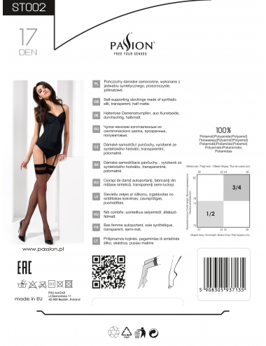 Lingerie - Bas - Bas sexy blanche en dentelle transparente 17 DEN ST002 - Passion Lingerie
