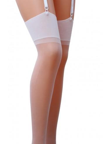 Lingerie - Bas - Bas blanche avec porte jarretelle 17 DEN ST001 - Passion Lingerie