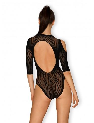 Lingerie - Bodys - Body noire manches longues et découpes sur les épaules avec motif zébré B130 - Obsessive
