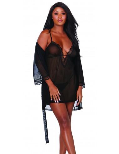 Nuisette et peignoir transparent noir - DG12239BLK