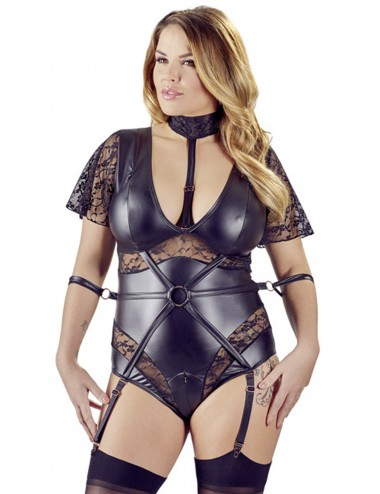 Body bondage noir et dentelle grande taille - OR2642611BLK