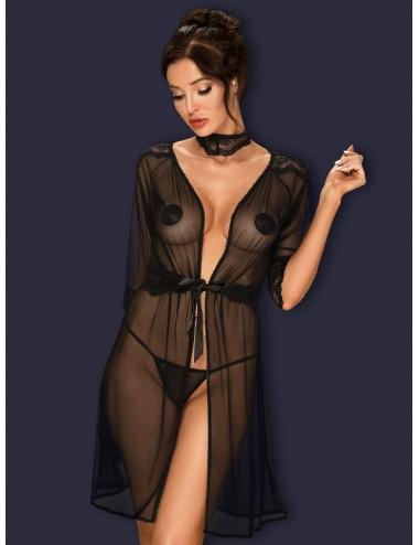 Lingerie - Peignoirs et Déshabillés - Peignoir en dentelle noire transparente et ceinture Lucita - Obsessive
