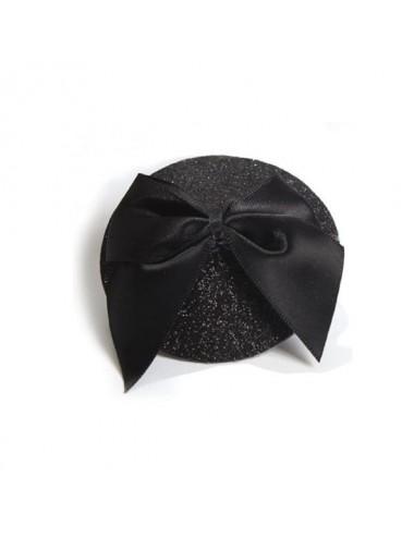 Cache-tétons Burlesque Noeud et Paillettes - Noir