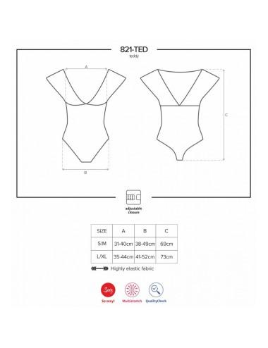 Lingerie - Bodys - Body en maille douce avec de la broderie délicate 821-TED-1 Noir - L-XL - Obsessive