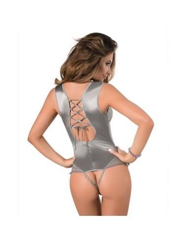 Lingerie - Bodys - Body brillant en satin argenté et bordé de dentelle grise et jaune Avena - S-M -