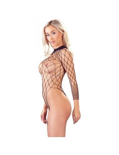 Lingerie - Bodys - Body recouvre d'un filet extensible Noir et entrejambe agréablement ouverte Mandy - TU -