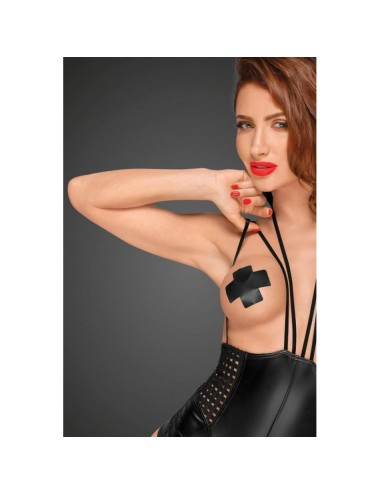 Lingerie - Bodys - Body sexy noir en tissus mat effet mouillé Cheeky Seins Nus F179 - XXL -