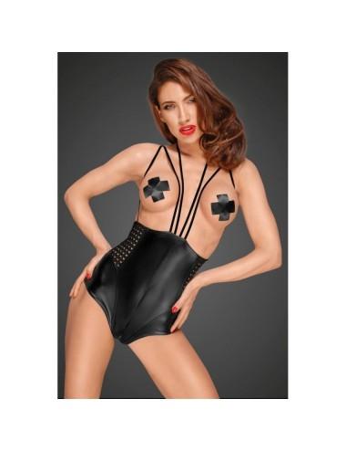 Lingerie - Bodys - Body sexy noir en tissus mat effet mouillé Cheeky Seins Nus F179 - XL -