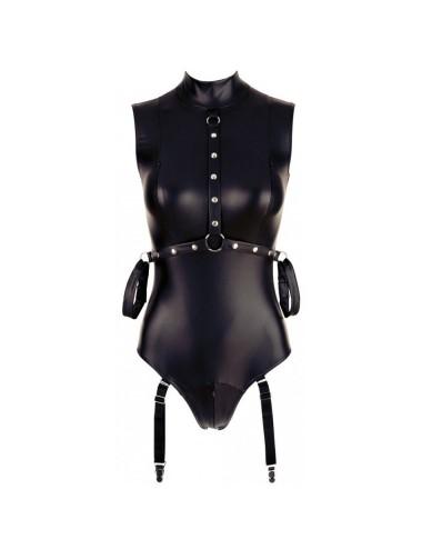 Lingerie - Bodys - Body Bondage Avec Jarretelles et Contraintes avec un tissus noir mat - M - Cottelli Lingerie