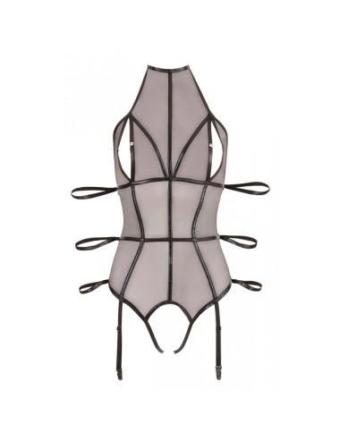 Lingerie - Bodys - Body Bondage Ouvert avec Triple Contraintes en voile et dans un tissus noir effet mouillé - S - Cottelli L...