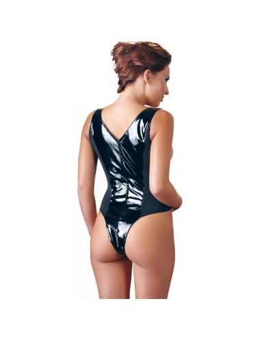 Lingerie - Bodys - Body Noire Ouvert sur la poitrine et sur l'entre-jambe en Vinyle - L -