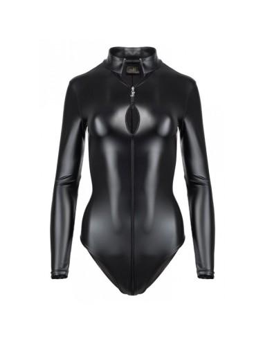 Lingerie - Bodys - Body noire a tissus élastique effet mouillé Wetlook Monarch F134 - XL -