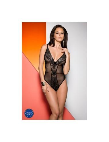 Lingerie - Bodys - Body noire en micro résille noire en fine dentelle florale et légérement transparente Jovita - L-XL -