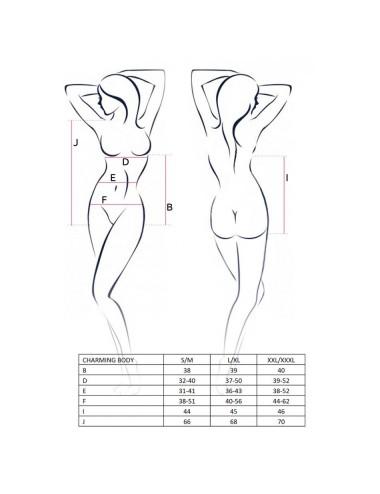 Lingerie - Bodys - Body Body en micro résille et avec un tissus noir opaque doux et fluide Charming - L-XL - Passion EroticLine