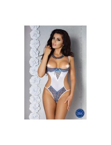 Lingerie - Bodys - Body en satin blanc très doux avec laçage bleu Eleni - XXL-XXXL -