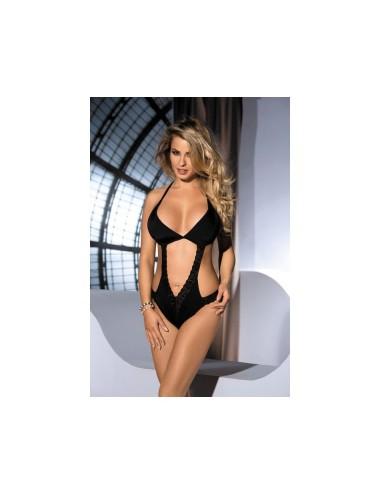 Lingerie - Bodys - Body Tilo légèrement transparente et tissus noire opaque - L-XL -