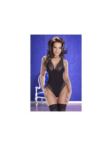 Lingerie - Bodys - Body noire échancré opaque bordée de dentelle Cora - XXL-XXXL -