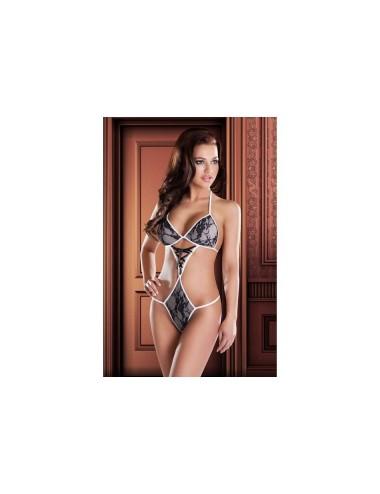 Lingerie - Bodys - Body blanc coupe sensuelle recouvert de dentelle noire et décoré d'un laçage noir en satin Olga XXL-XXXL -