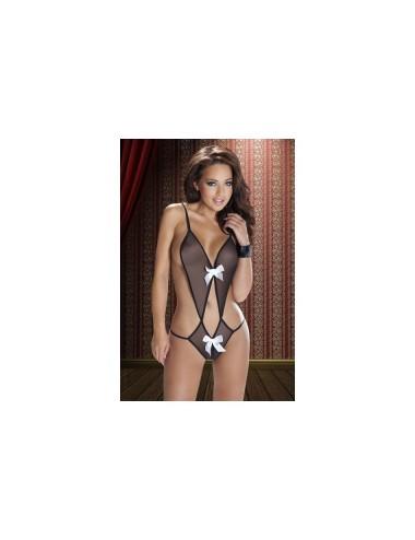 Lingerie - Bodys - Body noire ultra sexy en micro résille et décoré de noeuds blancs en satin Aruna XXL-XXXL -