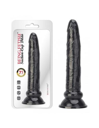 Gode anal fin noir réaliste a ventouse - 19 cm