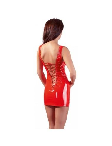 Robe en Vinyle Rouge avec Laçage - XXL