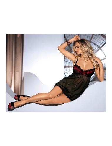 Nuisette et String Oriana Noir et Rouge L-XL