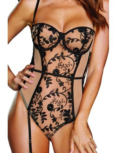 Body résille chair et dentelle noir avec porte jarretelles - DG11827BLK