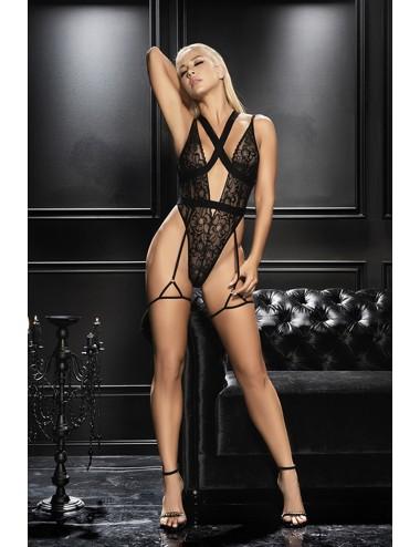 Lingerie - Bodys - Body noire en dentelle avec porte jarretelles et une petite pointe fétish- MAL8605BLK - Mapalé