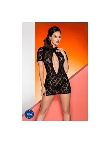 Lingerie - Nuisettes - Nuisette noire en fine dentelle florale et dos dénudé et large ouverture sur le devant Rika - L-XL -