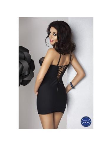 Lingerie - Nuisettes - Nuisette sensuelle et sexy avec laçage en satin noir sur l'arrière Zoja - XXL-XXXL -