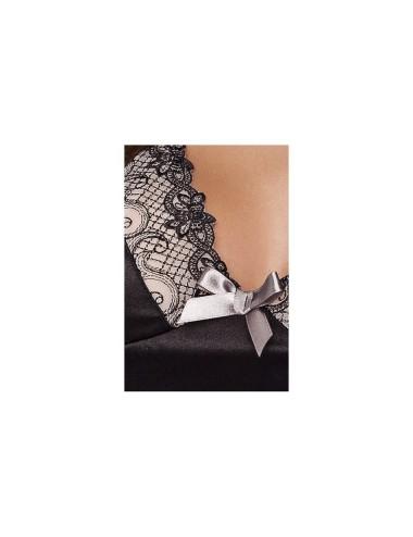 Lingerie - Nuisettes - Nuisette en micro résille noire avec Noeud argenté en satin entre les bonnets Brasiliana - XXL-XXXL -