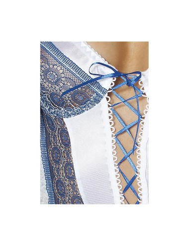 Lingerie - Nuisettes - Nuisette en satin blanc très doux avec Laçage bleu et armatures en dentelle Eleni Chemise L-XL -