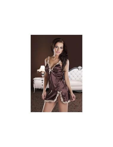 Lingerie - Nuisettes - Nuisette douce et sensuelle en tissus lisse et brillant bordée de volants dorés Jadore S-M -