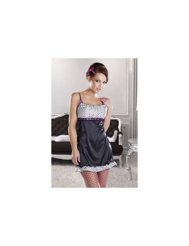 Lingerie - Nuisettes - Nuisette noire et blanche opaque avec un ruban en satin pourpre Channe XXL-XXXL -