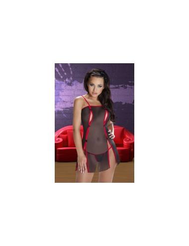 Lingerie - Nuisettes - Nuisette en micro résille noir et rouge avec petits noeuds noirs en satin Rina L-XL -