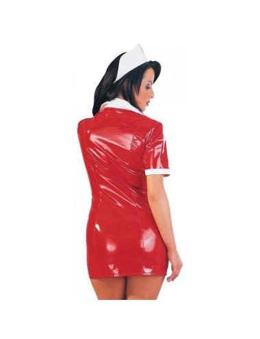 Tenue Rouge en Vinyle Look Infirmiere - M