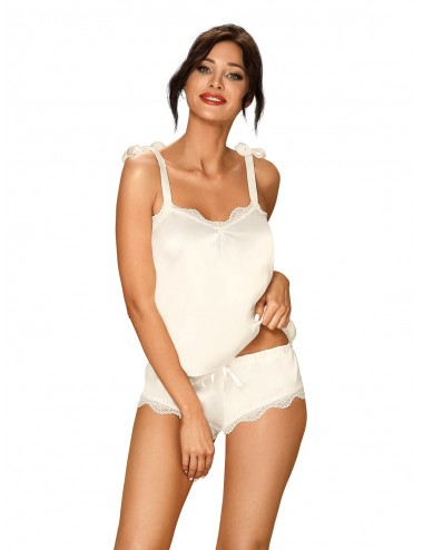 Lingerie - Ensembles de lingerie - Prima Neve Top et Shorty blanche et l'ourlets sont finis avec de la dentelle - Obsessive