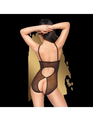 Lingerie - Bodys - Body en dentelle fine noire ouvert sur la poitrine et à l'entrejambe Turned on - Penthouse