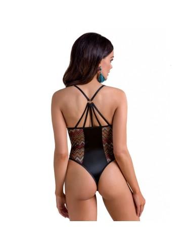 Lingerie - Bodys - Body satin noir et de tulle translucide aux décorations géométriques Lagerta - XXL-XXXL -