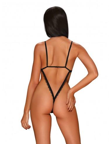 Lingerie - Bodys - Body noire en tissu transparente entrejambe ouvert Millagro - Obsessive