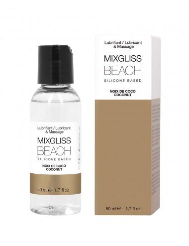 2 en 1 Lubrifiant et huile de massage silicone Mixgliss Beach Noix de coco 50 ML - MG2542