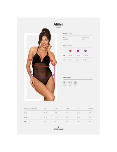 Lingerie - Bodys - Body Noir satin lisse et de maille fine avec fermeture à l'entrejambe Alifini - L-XL - Obsessive