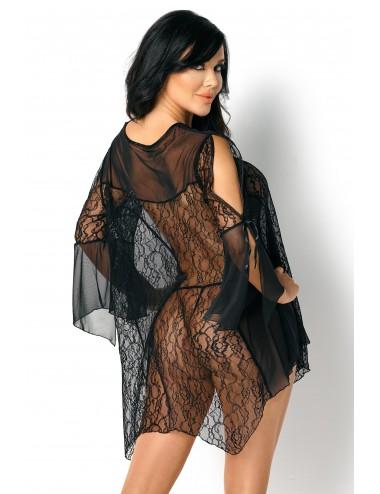 Lingerie - Nuisettes - Babydoll noire semi-transparente avec motif floral Sissy - Beauty Night