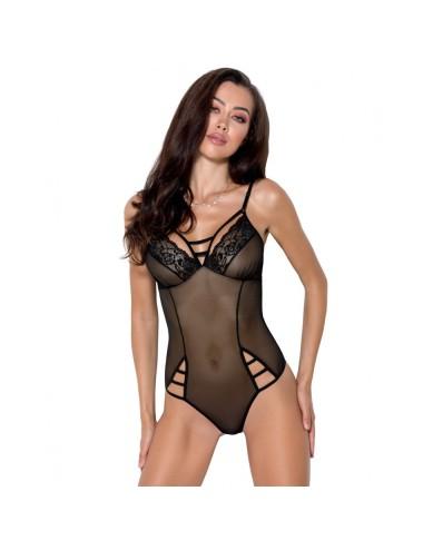Lingerie - Bodys - Body noire en dentelle subtiles et de bretelles sensuellement Melania - XXL-XXXL - Passion EroticLine