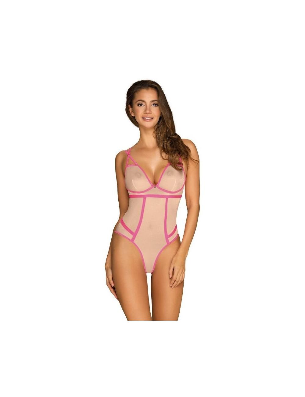 Lingerie - Bodys - Body en délicate et extensible et des rayures qui ornent le body Nudelia Rose - L-XL - Obsessive
