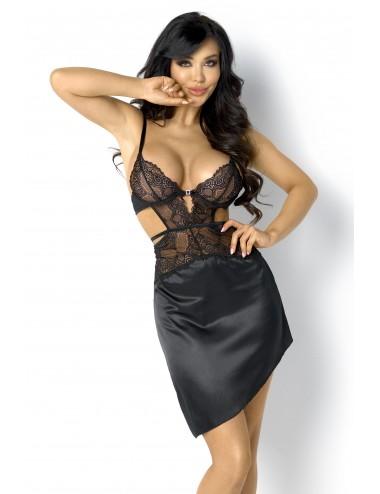 Lingerie - Nuisettes - Nuisette Noir ultra sexy en dentelle et tulle transparente Fiorella - Beauty Night