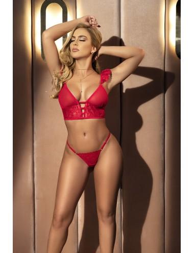 Nuisette sensuelle rouge transformable, 2 en 1 - MAL7386RED
